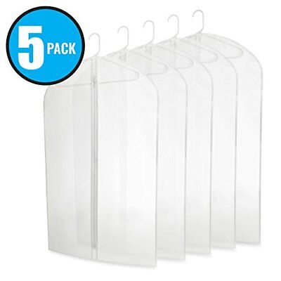 """Translucent 40"""" PEVA Garment Bags with Zipper for Travel and Storage Pack of 5"""
