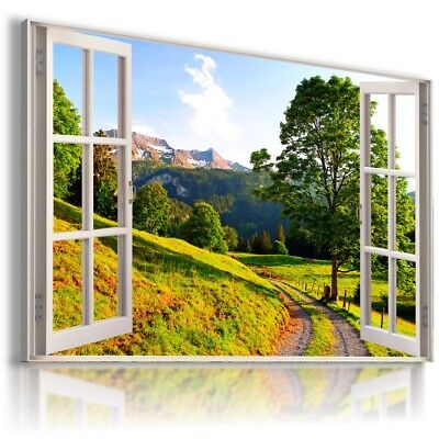 RED ROUTE PARK TREES 3D Window View Canvas Wall Art Picture Large W492 MATAGA .
