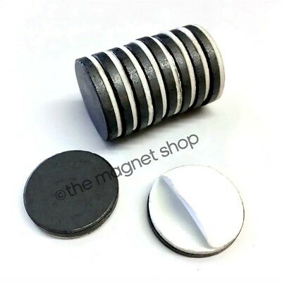 Self Adhesive Magnets 10pcs Strong Fridge Ceramic Ferrite 25mm