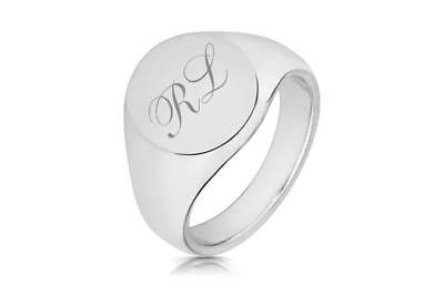 Gents 16x13mm Oval Signet Ring Engraved Initials 925 Sterling Silver Hallmarked