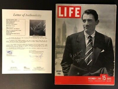 Gregory Peck Autographed 1947 Life Magazine Cover Popular American Film Star JSA