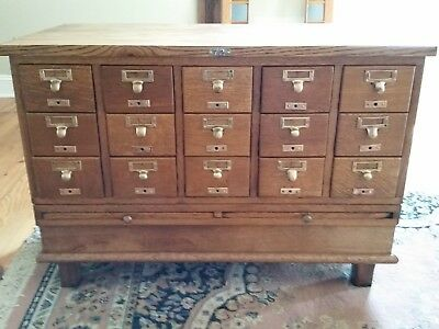 Antique Vintage Oak Library Card File Cabinet - 15 Drawer - ANTIQUE VINTAGE OAK Library Card File Cabinet - 15 Drawer - $595.00