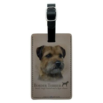 Border Terrier Dog Breed Rectangle Leather Luggage Card Suitcase Carry-On ID Tag