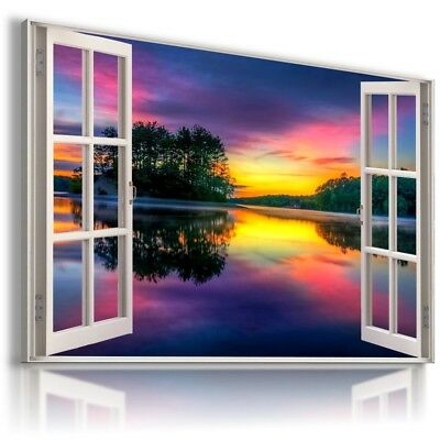 AFRICA SUNSET RIVER 3D Window View Canvas Wall Art Picture W123  MATAGA .