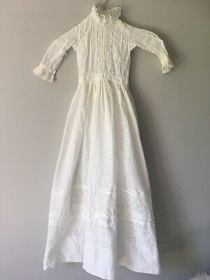 "Antique Baby Christening Gown Vintage White 39"" Long Embroidered Lace"