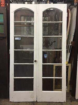Antique Vintage 1920's 6 Glass Light Arched Style Wooden French Doors