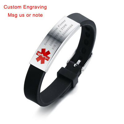 Medical Alert ID Men Women Kid Child Bracelet Silicone Band Customized Engraving