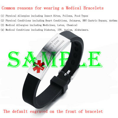 Adjustable Medical Alert ID Men Women Kid Child Bracelet Silicone Band DIY Laser