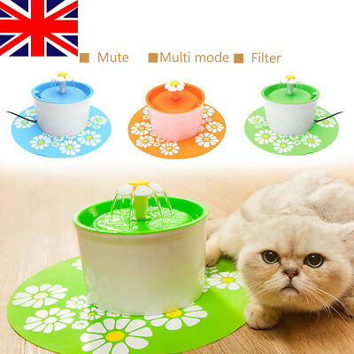 3# Pet Cat Dog Automatic Electric Water Drinking Fountain Bowl Filter 1.6L+Mat