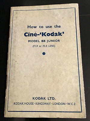 Original Kodak Model B-B Junior Instruction Book
