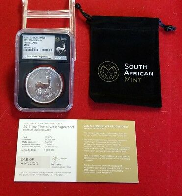2017 South Africa 1 Oz. .9999 Silver Krugerrand NGC SP70 First Release + COA Bag