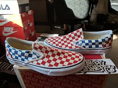 Vans Classic Slip-On Red Blue Checkerboard White Sail VN0A38F7QCS Off The  Wall 61d4e7529