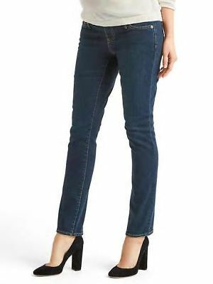 Nwt  Gap Maternity Demi Panel Authentic Real Straight Dark Jeans 33 Long 16 Long