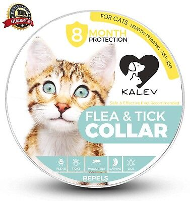 Kalev Flea And Tick Collar For Cats - Vet Recommended Hypoallergenic Wate... New