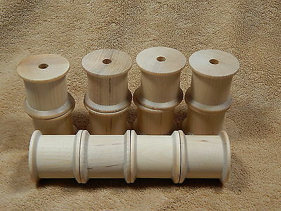 Unfinished Wood Wooden Large Short Wide Shank Thread Spools Lot of 12
