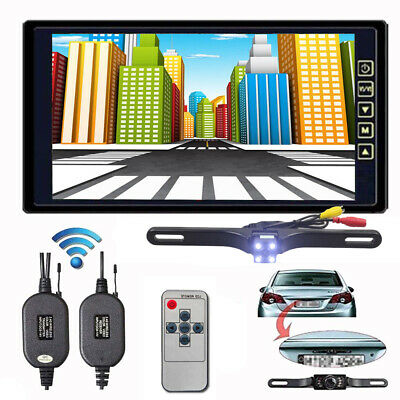 "Wireless IR Rear View Backup Camera  +9"" LCD Mirror Monitor for RV Truck Bus DIY"