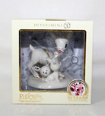 """Dept 56 2014 Rudolph The Red Nose Reindeer """"RUDOLPH & BUNNIES"""" Ornament IOB"""