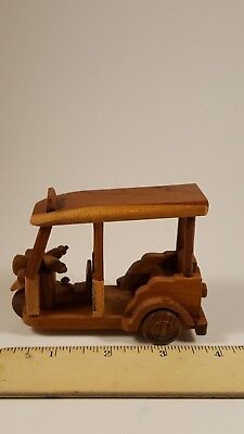 """Collectible  Souvenir Thai wood Crafting Taxi Tuk Tuk 4""""- middle size from USA."""