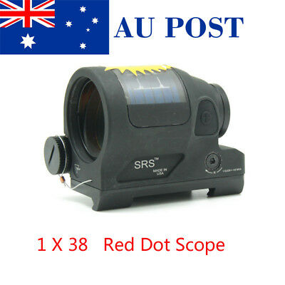 1X38 Black SRS Solar Power 1.75 MOA Dot Reflex Red Laser Scope Sight Rail Mount