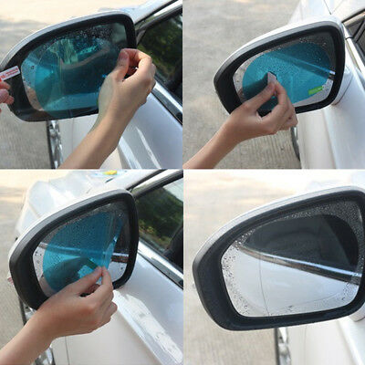 2Pcs Blue Oval Car Anti Fog Rainproof Rearview Mirror Protective Film 10x14.5cm