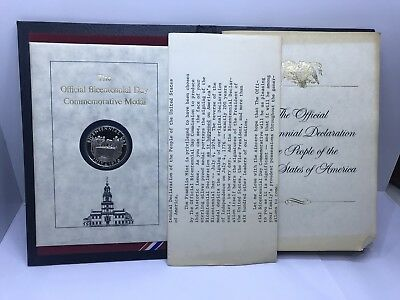 1976 Sterling Silver Bicentennial Commemorative Medal Coin Franklin Mint Rear