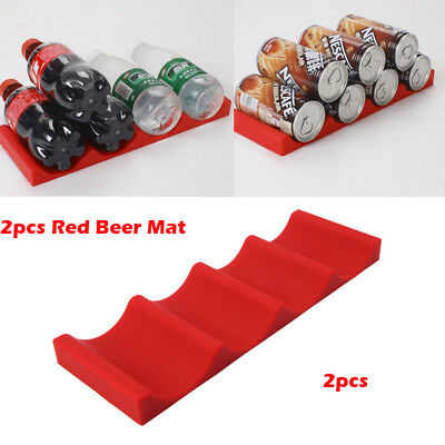 2pcs Fridge Can Beer Wine Bottle Silicone Rack Holder Mat Stacking Tidy Tool Pad