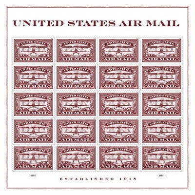 USPS New United States Air Mail (Red ) Pane of 20
