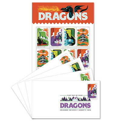 USPS New Dragons Keepsake with Digital Color Postmark (Set of 4)