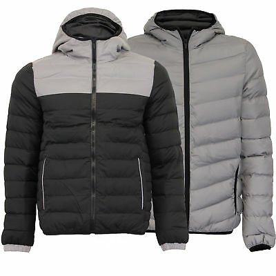 Mens Reflective Jacket Brave Soul Coat Padded Quilted Hoodie Bubble Winter New