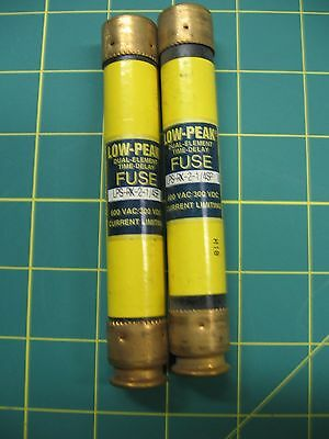 TWO Bussmann LPS-RK-2.25SP, Low Peak Time Delay Fuse, 600 VAC 300 VDC  - NOS
