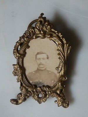 Antique French Ornate Gilt Miniature Photograph Picture Frame Chatelaine Locket