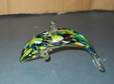 West Virginia Glass Ron Hinkle Hand Blown Dolphin Green Tones Buckhannon