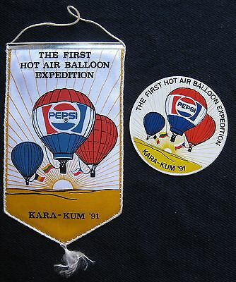 New Vintage Pepsi Russia Ussr Lithuania Pennant & Sticker Hot Air Ballooning