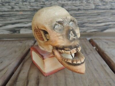 68d6c9fc1ae2 Vintage Skull Match Holder Bobble Jaw Nodder Japan Macabre Cigarette Death