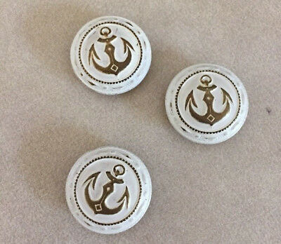Lot of 3 Vintage Nautical Anchor Round White Goldtone Metal Shank Buttons 2.5cm