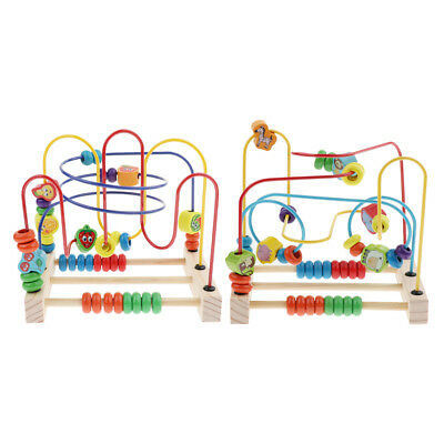 Children Kids Colorful Wooden Mini Around Beads Educational Game Toy HOT