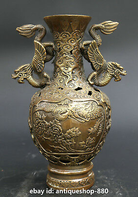 "7.9""  Chinese Bronze Animals Dragon Phoenix Crane Tree Peony Bottle Vase"