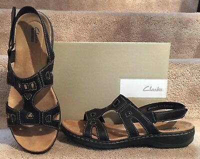 d218b334b43f Clarks Leisa Annual Casual Sandals Leather Womens Comfort Sandals 10W Black