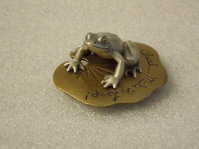 Bronze Colored Metal Frog With Saying On Base