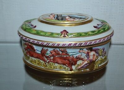 Antique or Vintage Capodimonte Porcelain Pottery Covered Box