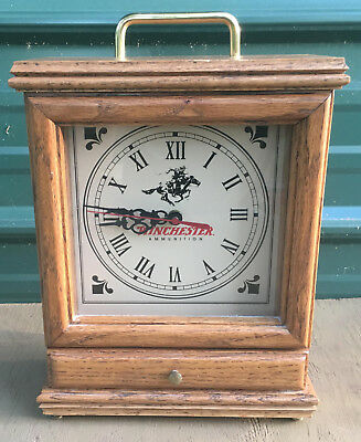 Winchester Arms Mantel Clock with Drawer wooden vintage ammo gun rifle table