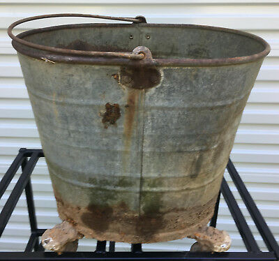 Galvanized 6 Gallon Mop Bucket vintage flower planter metal