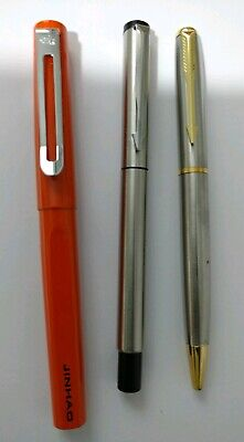 Stylish Stainless Steel Ballpoint And Fountain Pen Set, Orange And Silver