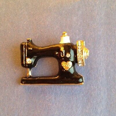 Sweet SEWING MACHINE BROOCH PIN - Black Enamel w/ Inlay Crystals