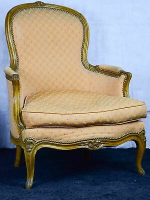 Pair of antique French Bergere Louis XV armchairs