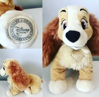 """14"""" Lady and the Tramp Lady Plush Toy Genuine Disney Store with Badge"""