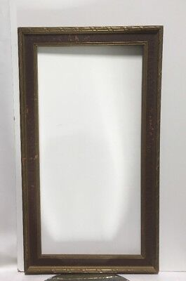 "VTG. Art Deco Arts and Crafts Mission Wood Picture Frame Fits 12"" x24"""