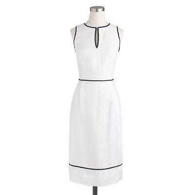 2ec3db67827 J CREW White LINEN DRESS S 4 Sheath keyhole Tipped Career Cocktail Excellent