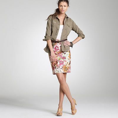 2ccadf000 new J CREW XS 2 WATERCOLOR FLORAL PASTICHE PENCIL SKIRT Career Cocktail WOW!