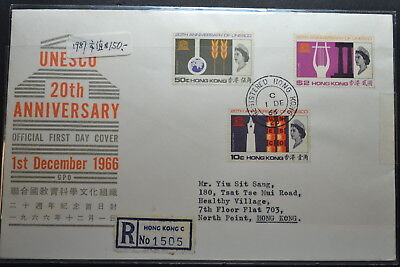 FDC of Hong Kong Yang's #C17 Set of 3 Y-1966 21.1 Registered mail to local